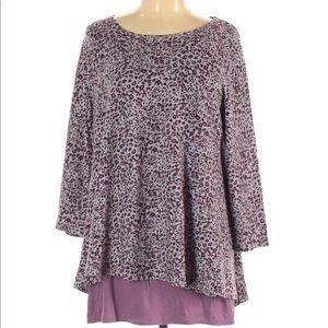 LOGO Lori Goldstein Cheetah Print Tunic Purple LG